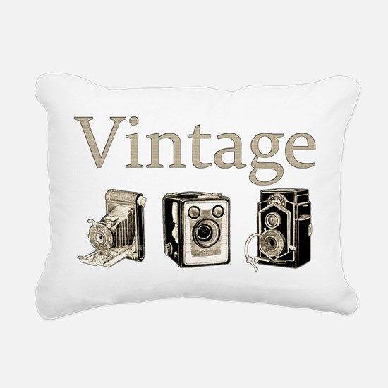Vintage-Tan and Black Rectangular Canvas Pillow