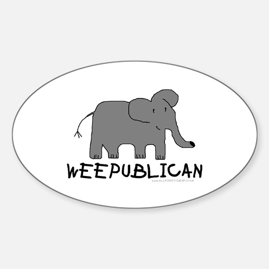 """NEW"" WEEPUBLICAN WITH GREY E Oval Decal"