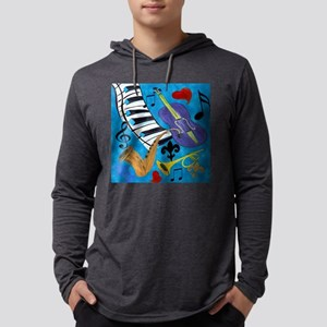 Jazz on Blue Mens Hooded Shirt