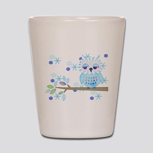 Blue Striped Winter Snow Owl Shot Glass