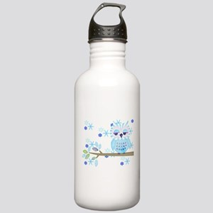Blue Striped Winter Snow Owl Stainless Water Bottl