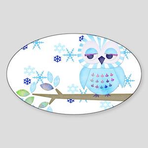 Blue Striped Winter Snow Owl Sticker (Oval)