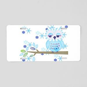 Blue Striped Winter Snow Owl Aluminum License Plat