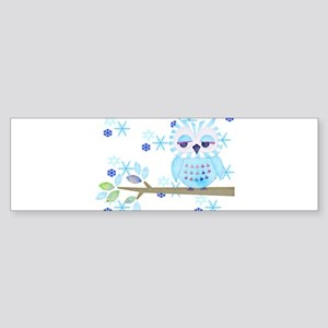 Blue Striped Winter Snow Owl Sticker (Bumper)