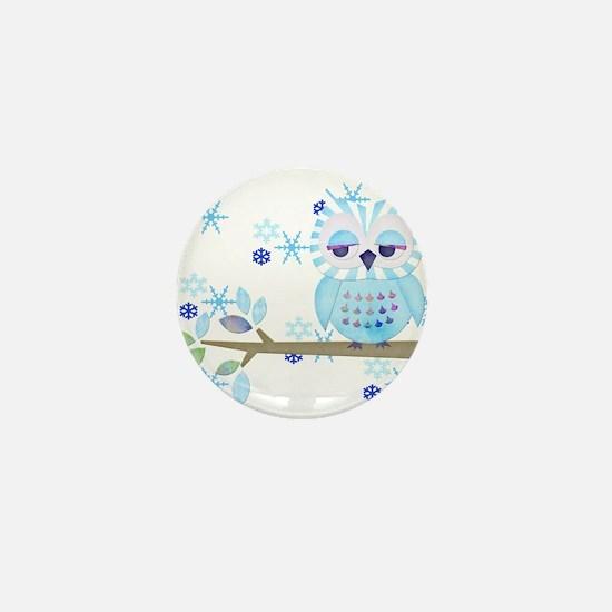 Blue Striped Winter Snow Owl Mini Button (100 pack