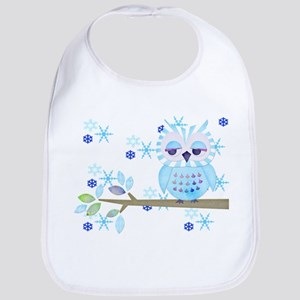 Blue Striped Winter Snow Owl Bib