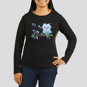 Blue Striped Winter Snow Owl Women's Long Sleeve D