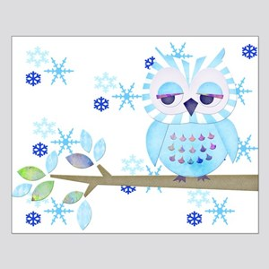 Blue Striped Winter Snow Owl Small Poster