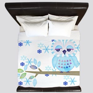 Blue Striped Winter Snow Owl King Duvet
