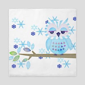 Blue Striped Winter Snow Owl Queen Duvet