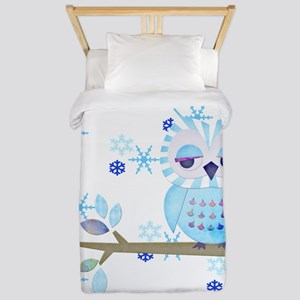 Blue Striped Winter Snow Owl Twin Duvet