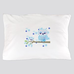 Blue Striped Winter Snow Owl Pillow Case