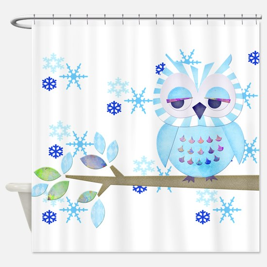 Blue Striped Winter Snow Owl Shower Curtain