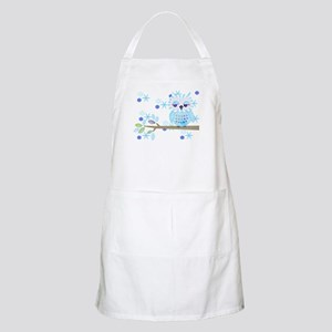 Blue Striped Winter Snow Owl Apron