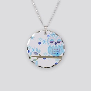 Blue Striped Winter Snow Owl Necklace Circle Charm