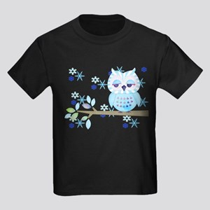 Blue Striped Winter Snow Owl Kids Dark T-Shirt