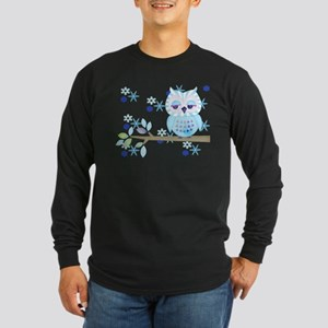 Blue Striped Winter Snow Owl Long Sleeve Dark T-Sh