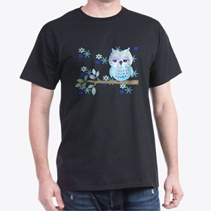 Blue Striped Winter Snow Owl Dark T-Shirt