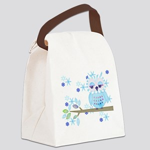 Blue Striped Winter Snow Owl Canvas Lunch Bag