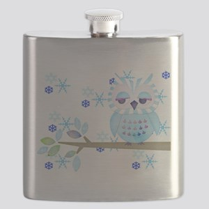 Blue Striped Winter Snow Owl Flask