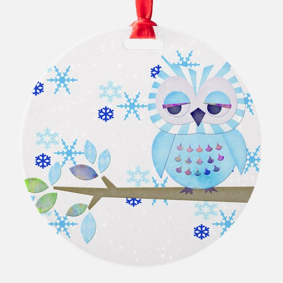 Blue Striped Winter Snow Owl Round Ornament