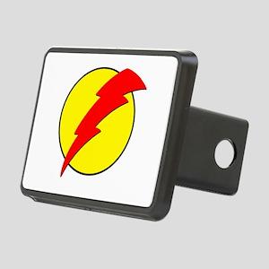A Red Lightning Bolt Rectangular Hitch Cover