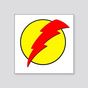 "A Red Lightning Bolt Square Sticker 3"" x 3"""