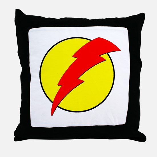 A Red Lightning Bolt Throw Pillow