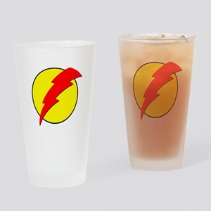 A Red Lightning Bolt Drinking Glass