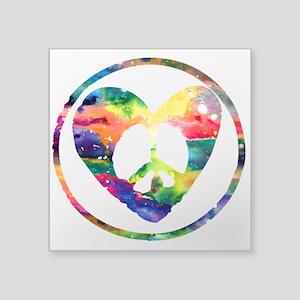 "Rainbow Peace Heart C Square Sticker 3"" x 3"""