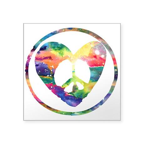 Rainbow peace heart c square sticker 3 x 3