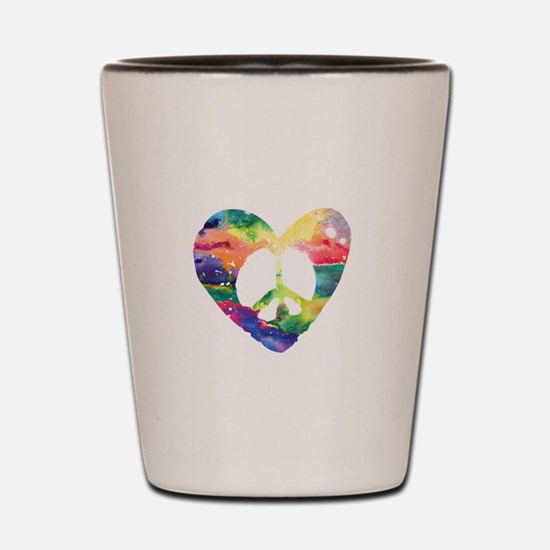 Rainbow Peace Heart Shot Glass