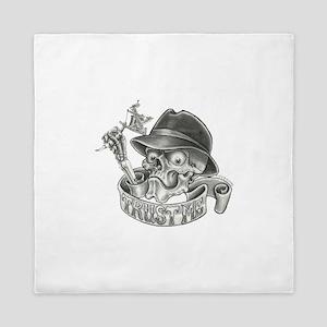 Wicked Skull with Tattoo Machine Queen Duvet