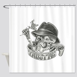 Wicked Skull with Tattoo Machine Shower Curtain