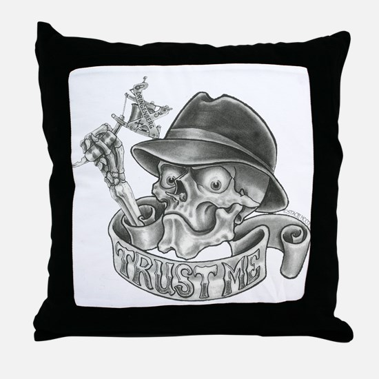 Wicked Skull with Tattoo Machine Throw Pillow