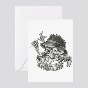 Wicked Skull with Tattoo Machine Greeting Card