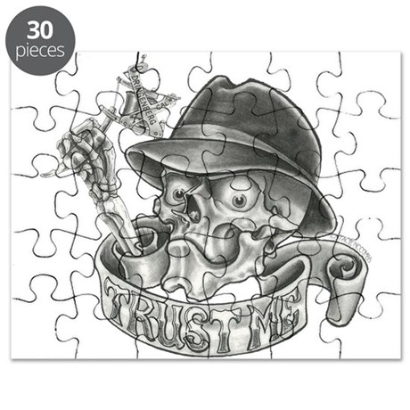 wicked skull with tattoo machine puzzle by tatteeproductions