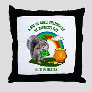 Squirrel St. Patrick's Day Throw Pillow
