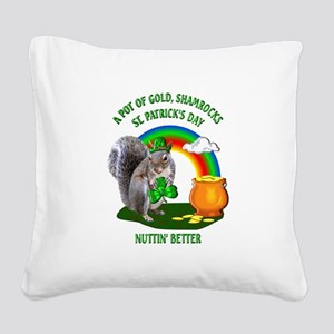 Squirrel St. Patrick's Day Square Canvas Pillow