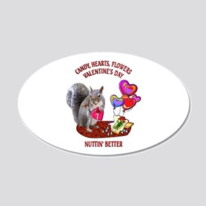 Squirrel Valentine's Day 20x12 Oval Wall Decal