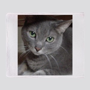 Russian Blue Gray Cat Throw Blanket