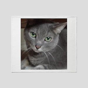 Russian Blue Gray Cat Throw Blanket