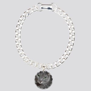 Gray Cat Russian Blue Charm Bracelet, One Charm