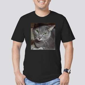 Gray Cat Russian Blue Men's Fitted T-Shirt (dark)