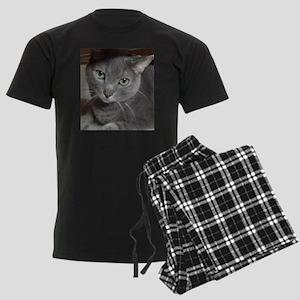 Gray Cat Russian Blue Men's Dark Pajamas
