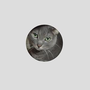 Gray Cat Russian Blue Mini Button