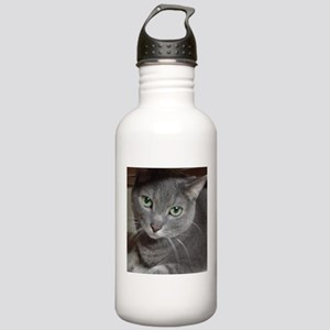 Gray Cat Russian Blue Stainless Water Bottle 1.0L
