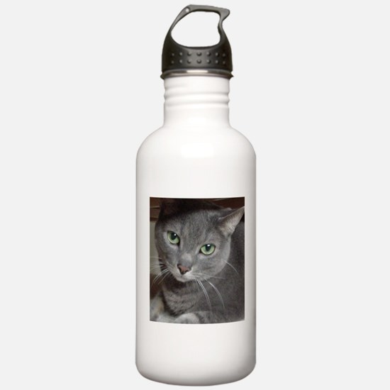 Gray Cat Russian Blue Water Bottle