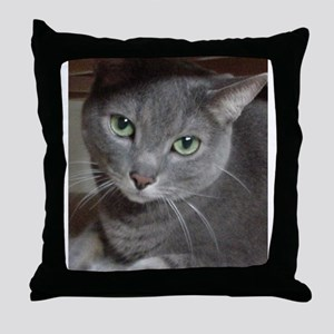 Gray Cat Russian Blue Throw Pillow