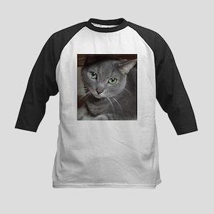Gray Cat Russian Blue Kids Baseball Jersey